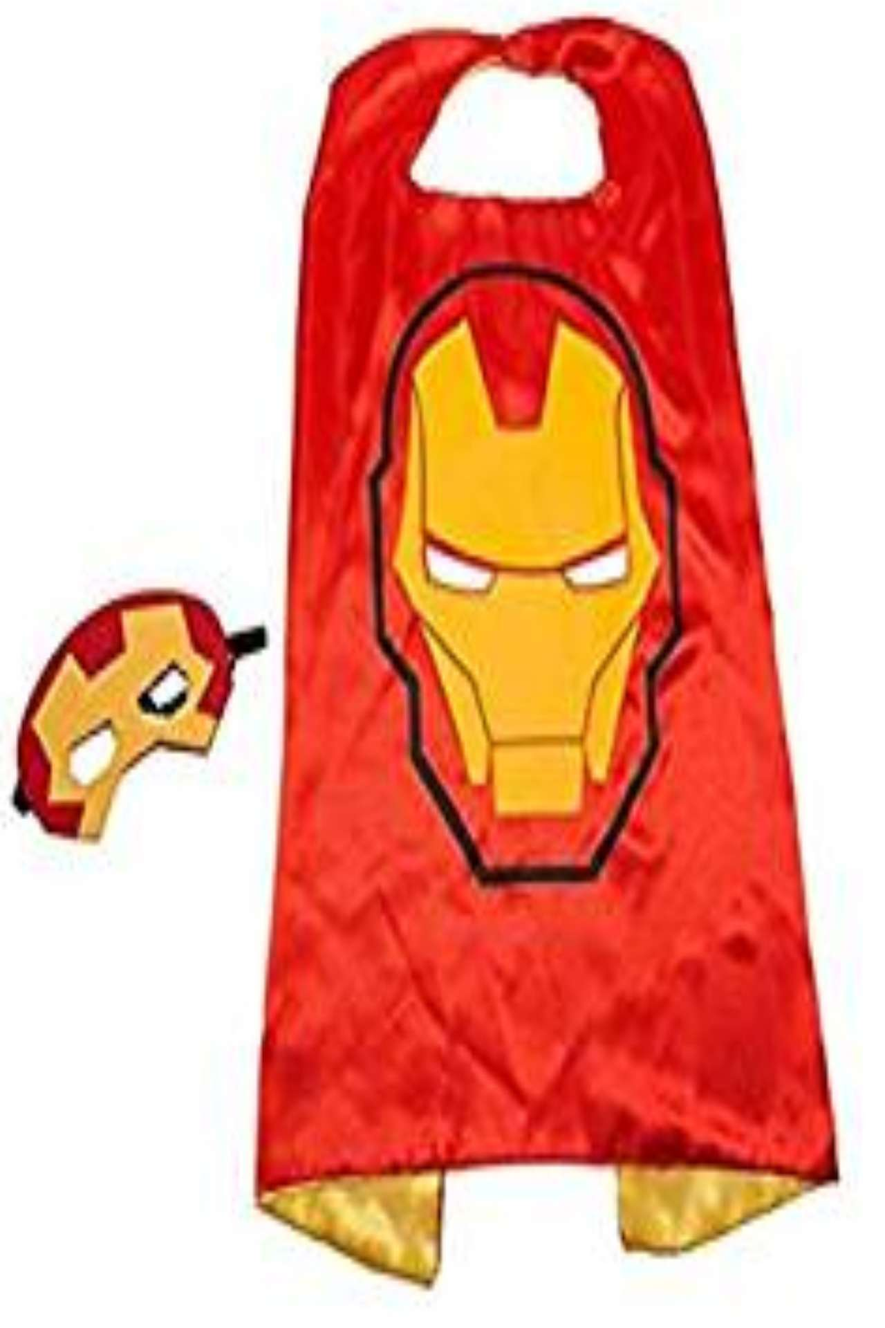 Children Marvel Avengers Universe Iron Man satin cape and felt mask