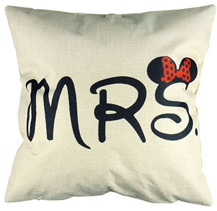 Mrs Minnie Mouse Cushion Cotton Linen Throw Pillow