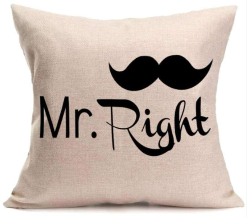 Mr Right With Moustache Cushion Cotton Linen Throw Pillow
