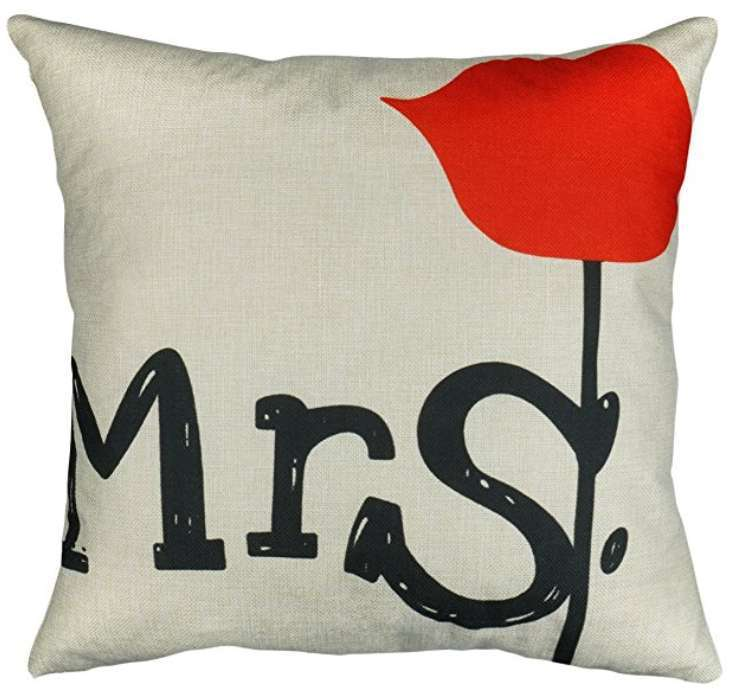 Mrs Always Right With Rose Cushion Cotton Linen Throw Pillow