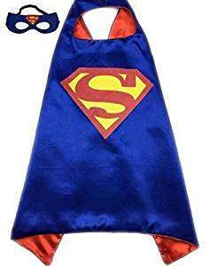 Children DC Universe blue superman satin cape and felt mask