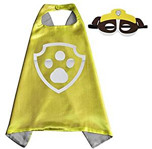 Paw Patrol Rubble satin cape and felt mask