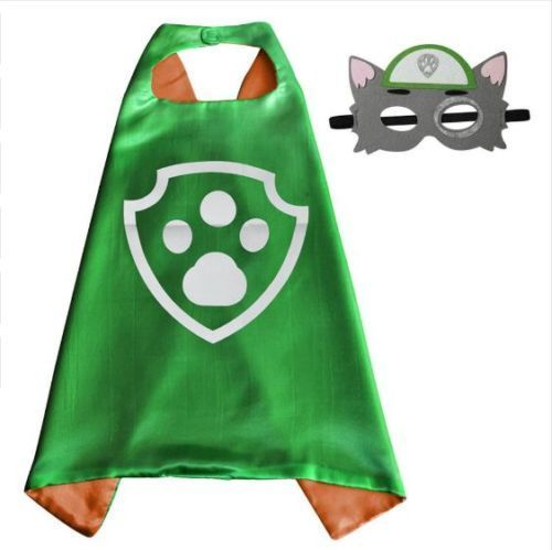 Paw Patrol Rocky satin cape and felt mask