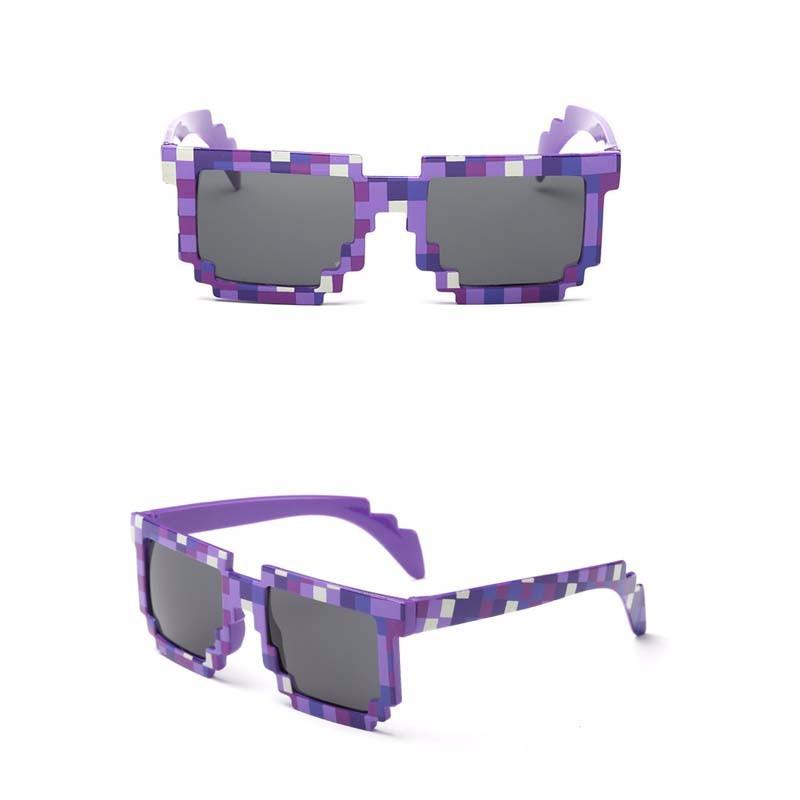 Minecraft Kids Sunglasses - Novelty Retro Gamer Geek Glasses for Boys and Girls purple