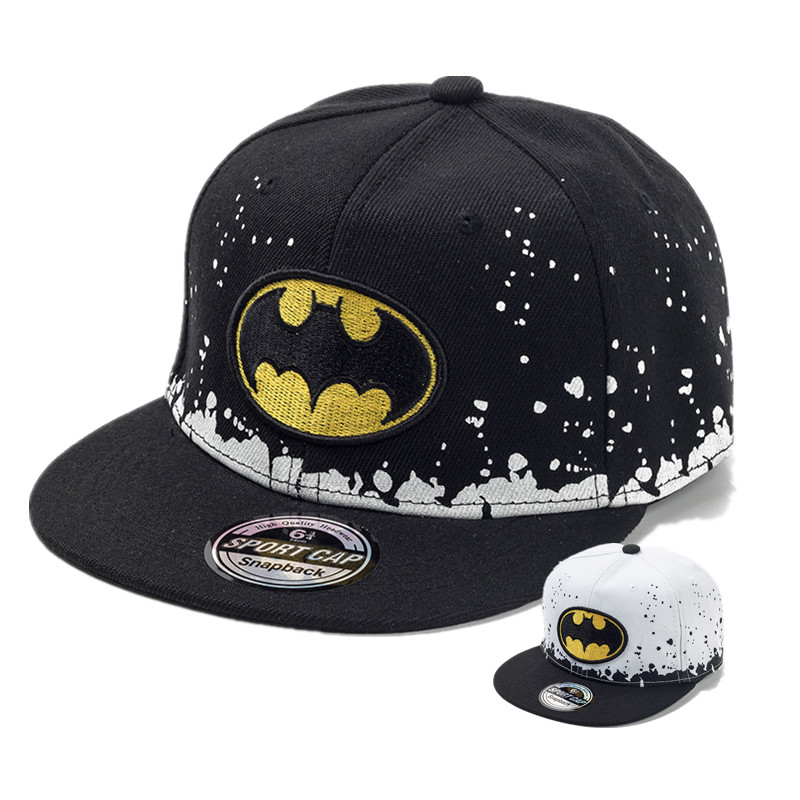 KIDS BATMAN BASEBALL CAP SNAPBACK BLACK WITH WHITE SPOTS