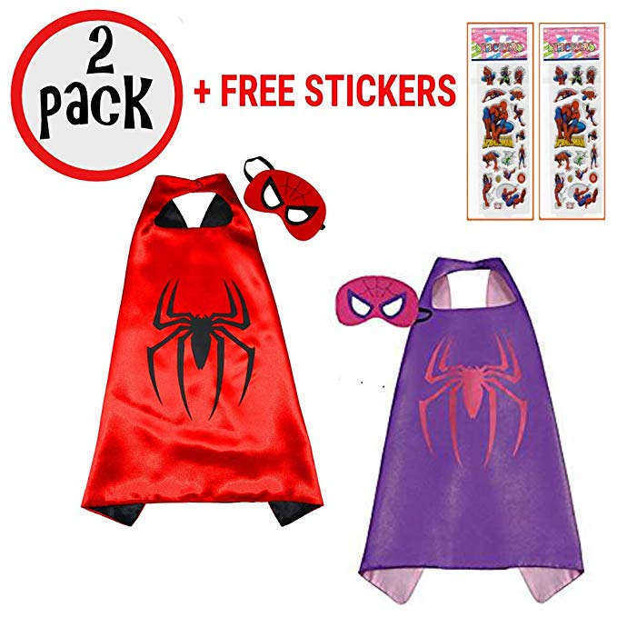 Avengers Two Pack Superhero Cape And Mask Set Spider-Man And Spider-Girl