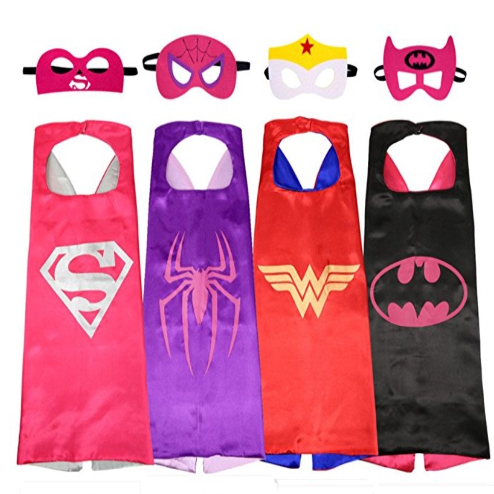 Avengers Superhero Four Set Cape And Mask Batgirl Supergirl Batman Spidergirl Wonderwoman