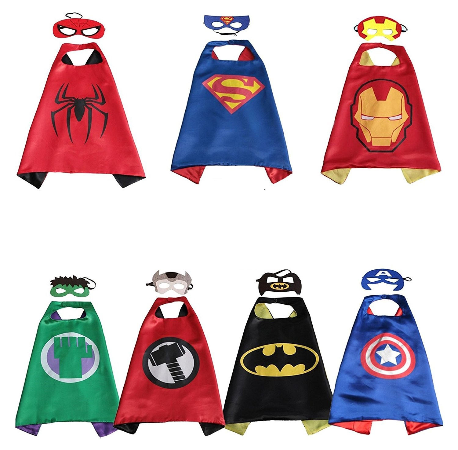 Avengers Superhero Seven Pack Cape And Mask Set Batman Superman Spider-man Captain America Iron-Man Thor Hulk