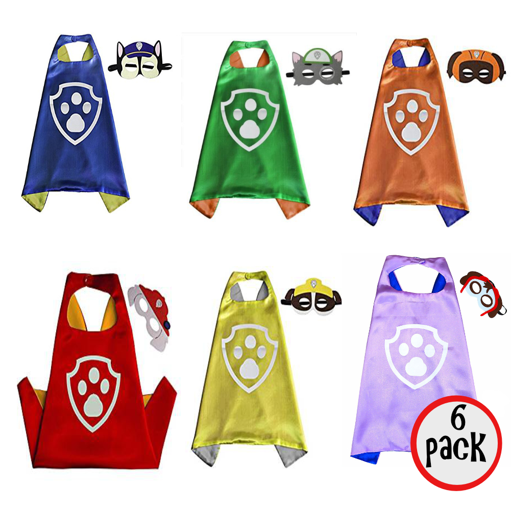 Paw Patrol Six Pack Cape And Mask Set Chase Marshall Rubble Zuma Rocky Skye