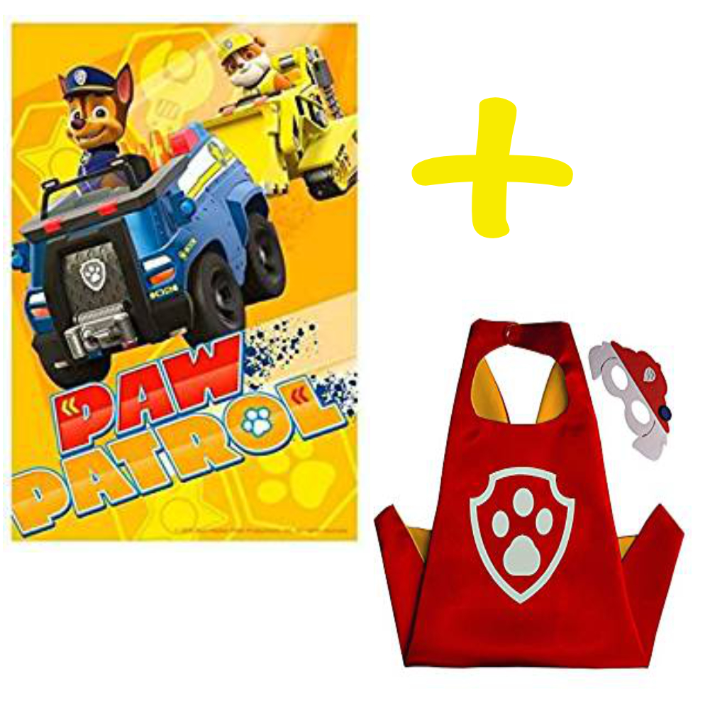 PAW PATROL YELLOW BLANKET AND MARSHALL CAPE AND MASK SET