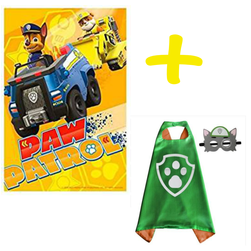 PAW PATROL YELLOW BLANKET AND ROCKY CAPE AND MASK SET
