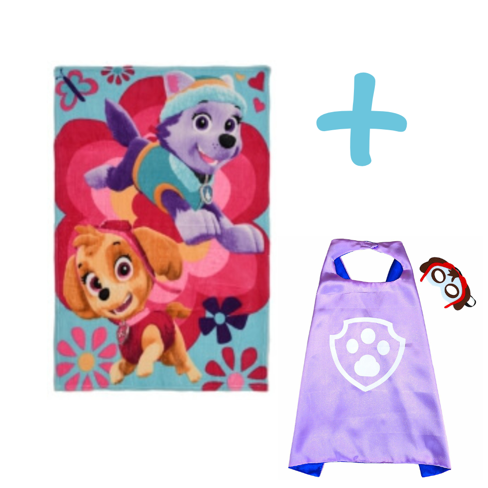 PAW PATROL SKYE AND EVEREST BLANKET AND SKYE CAPE AND MASK SET