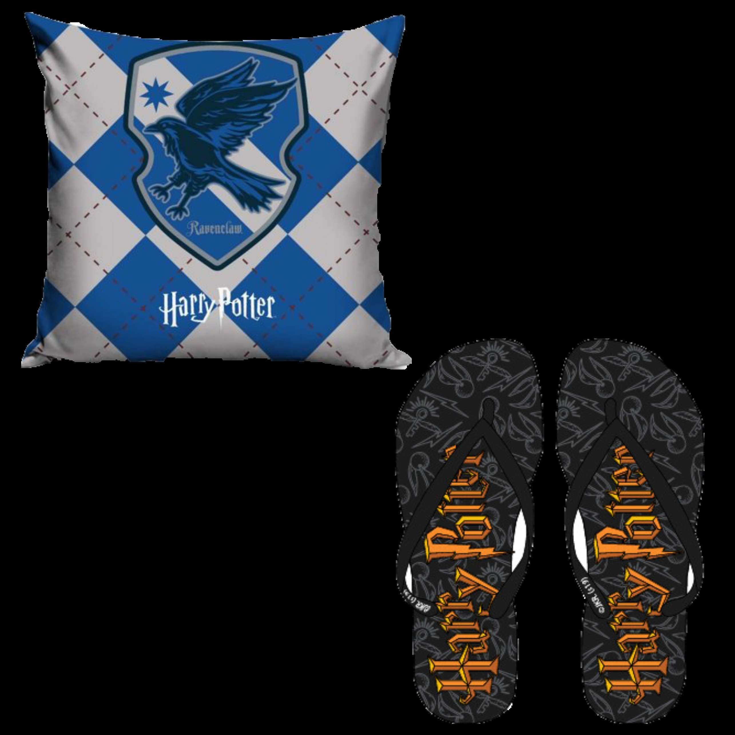 OFFICIAL WARNER BROS HARRY POTTER RAVENCLAW PILLOW CASE AND FLIP FLOPS