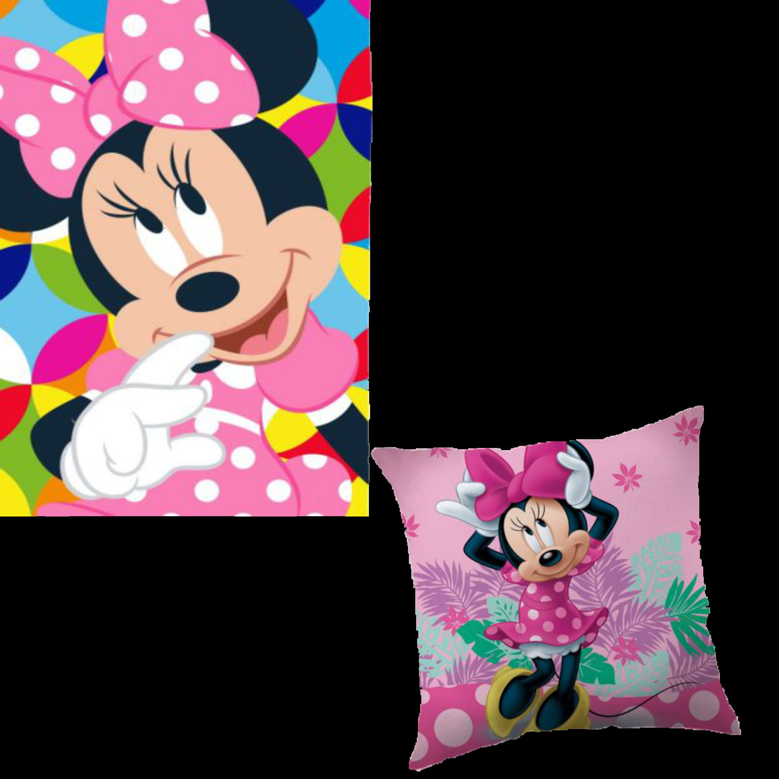 OFFICIAL DISNEY MINNIE MOUSE FLEECE BLANKET AND MINNIE MOUSE CUSHION SET