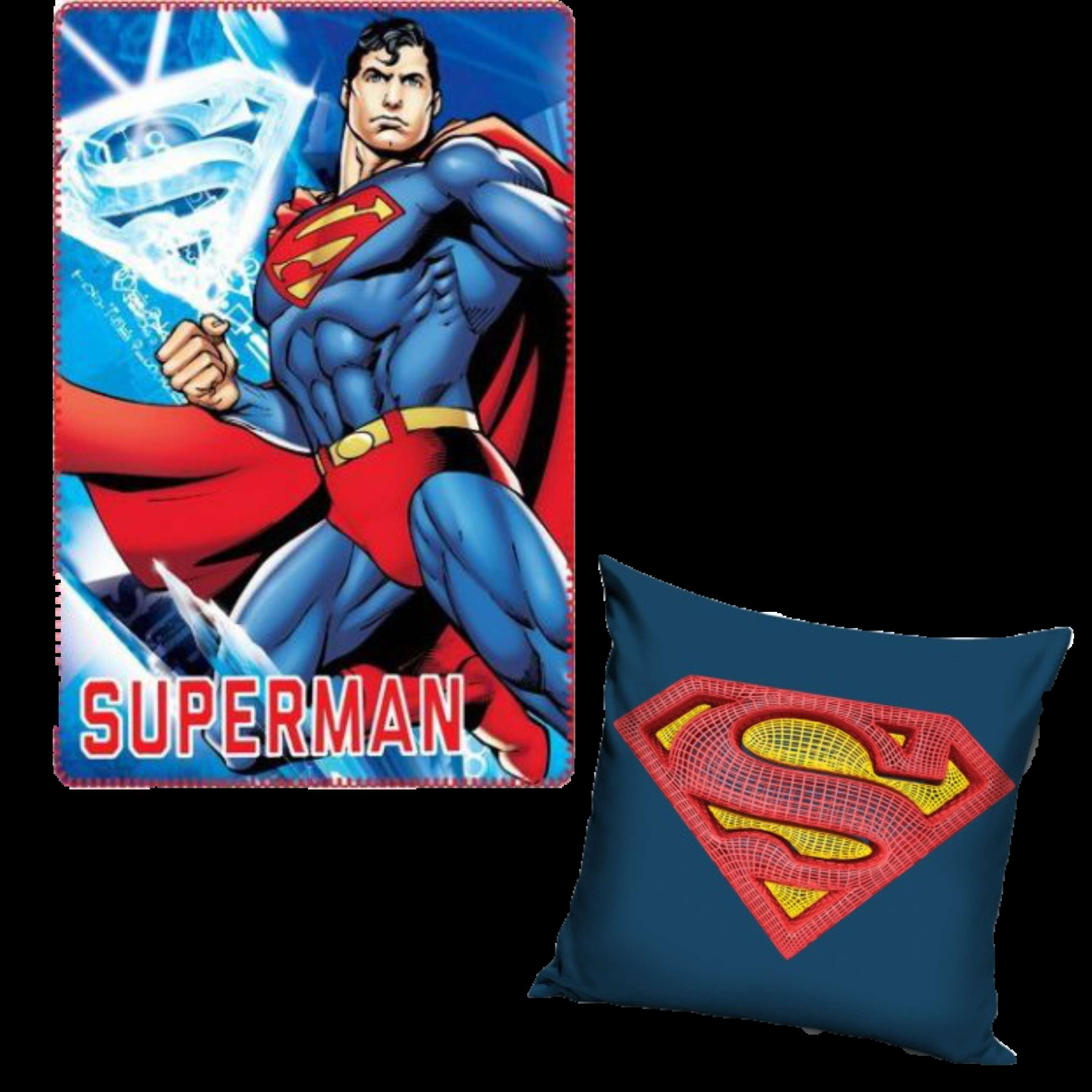 Superman Character Fleece Blanket And Pillowcase set