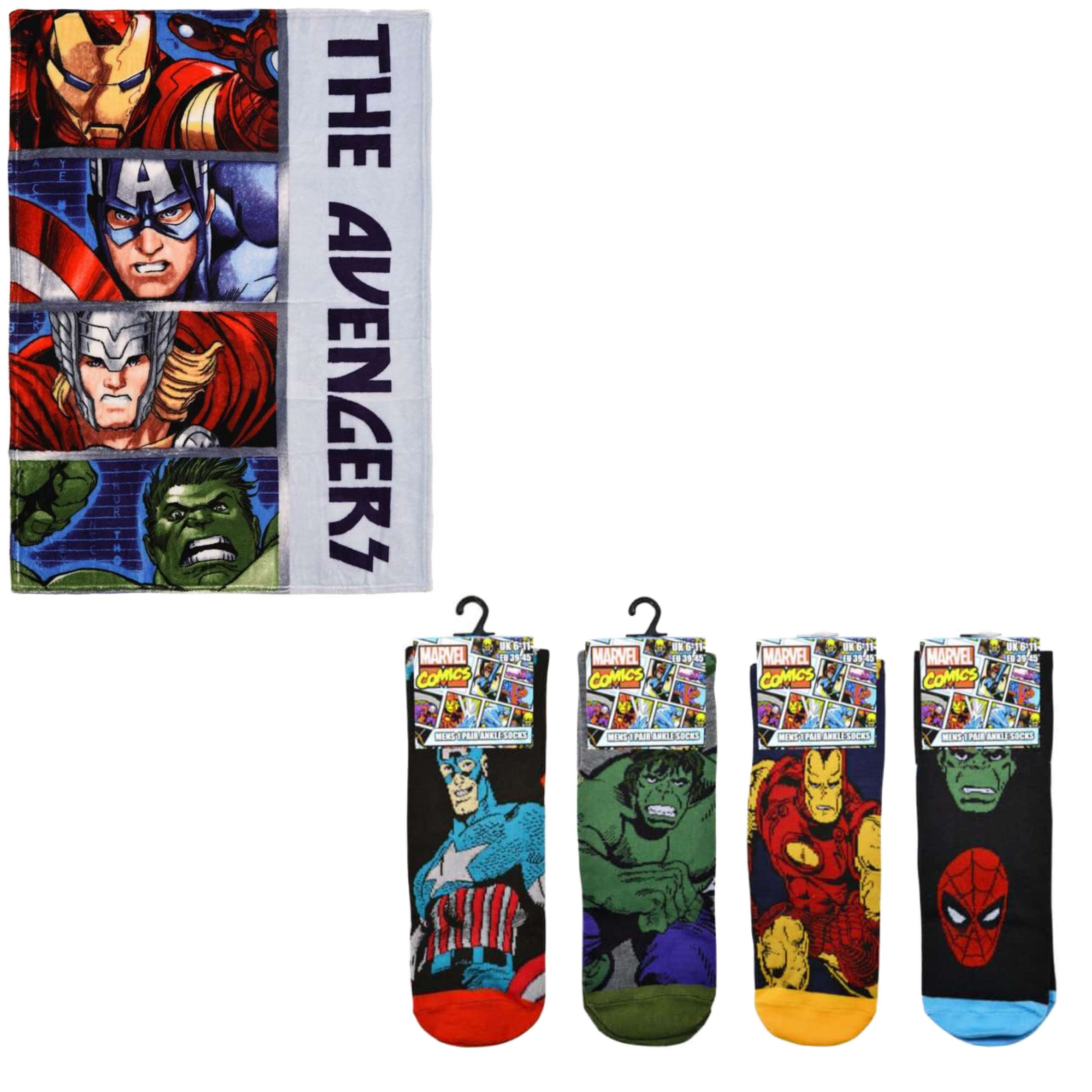 Marvel Avengers Character Fleece Blanket And Four Pack Avengers Socks