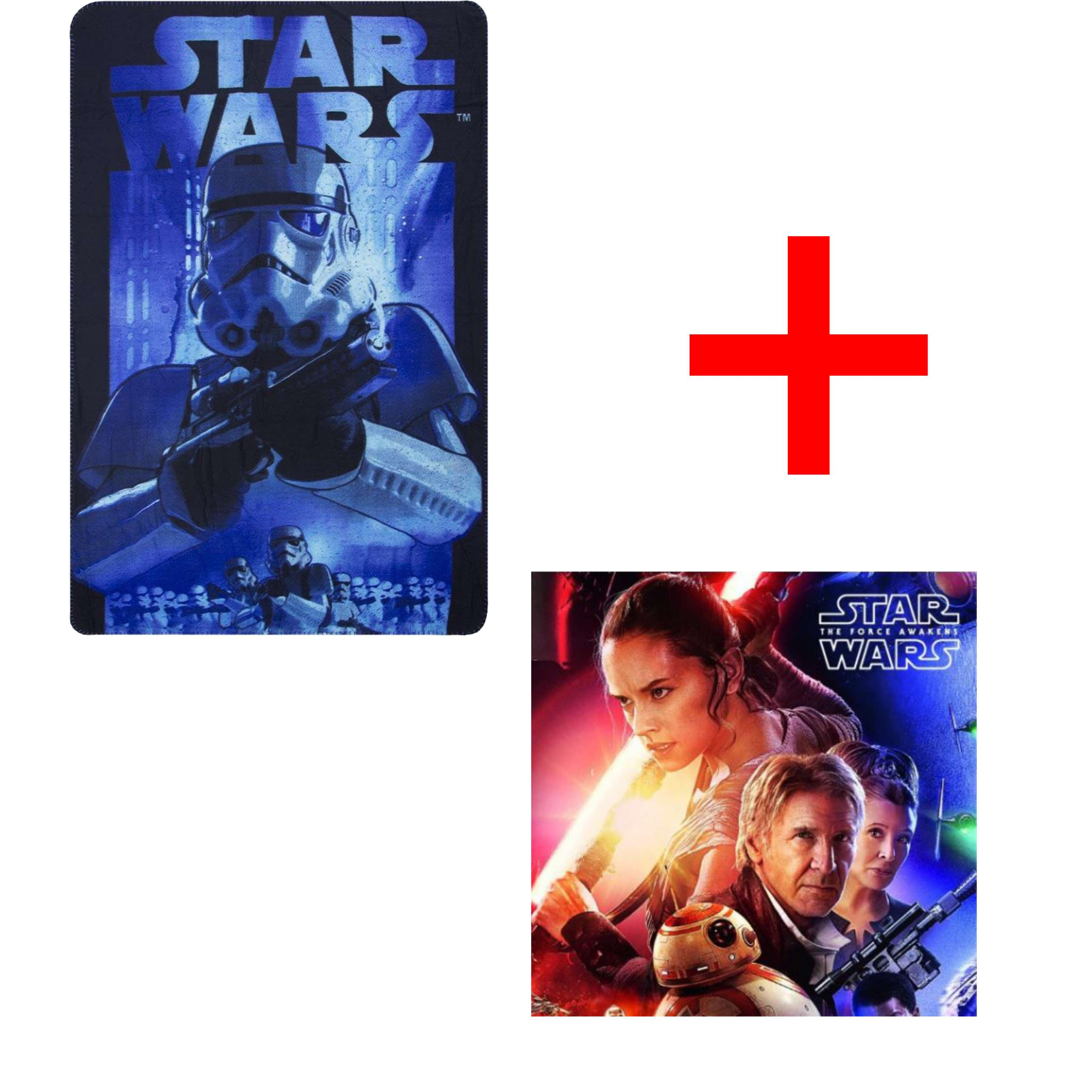 Disney Star Wars Blue Storm Trooper Fleece Blanket And The Force Awakens Reversible Pillow Case Set