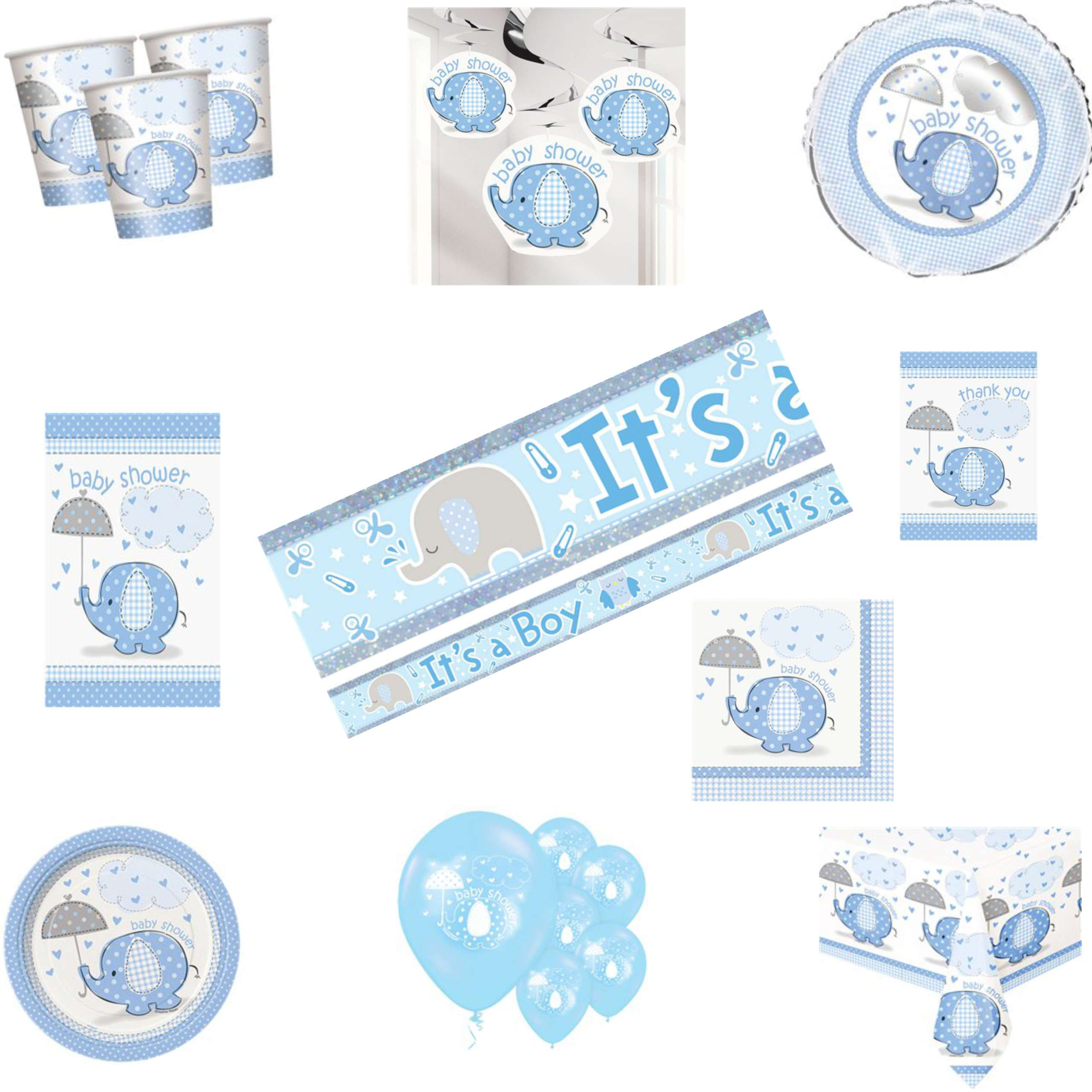 Umbrellaphants Blue Baby Shower Party Pack
