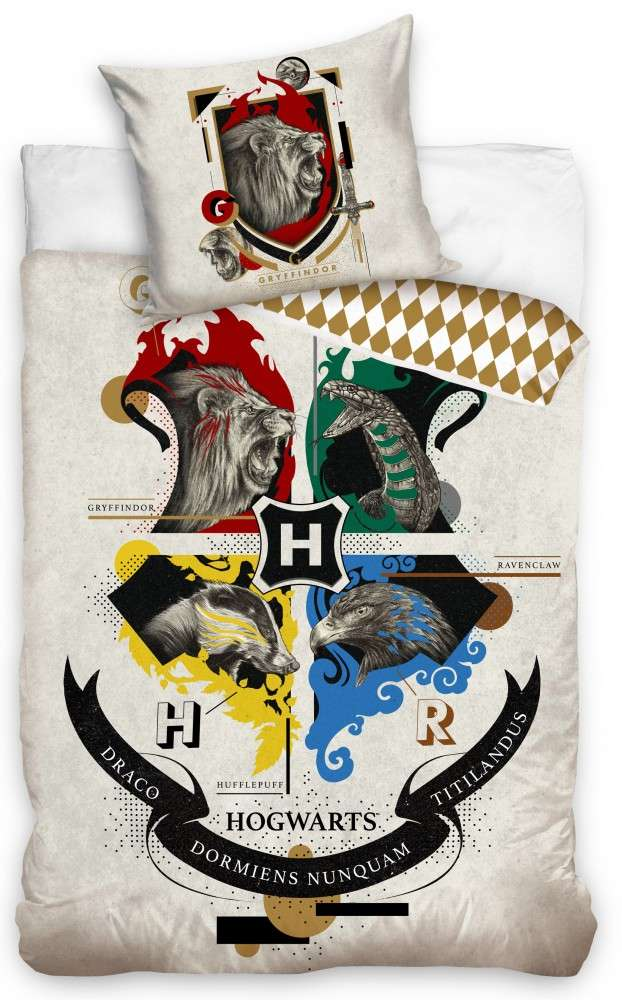 Harry Potter House With Animals Cream Duvet Set