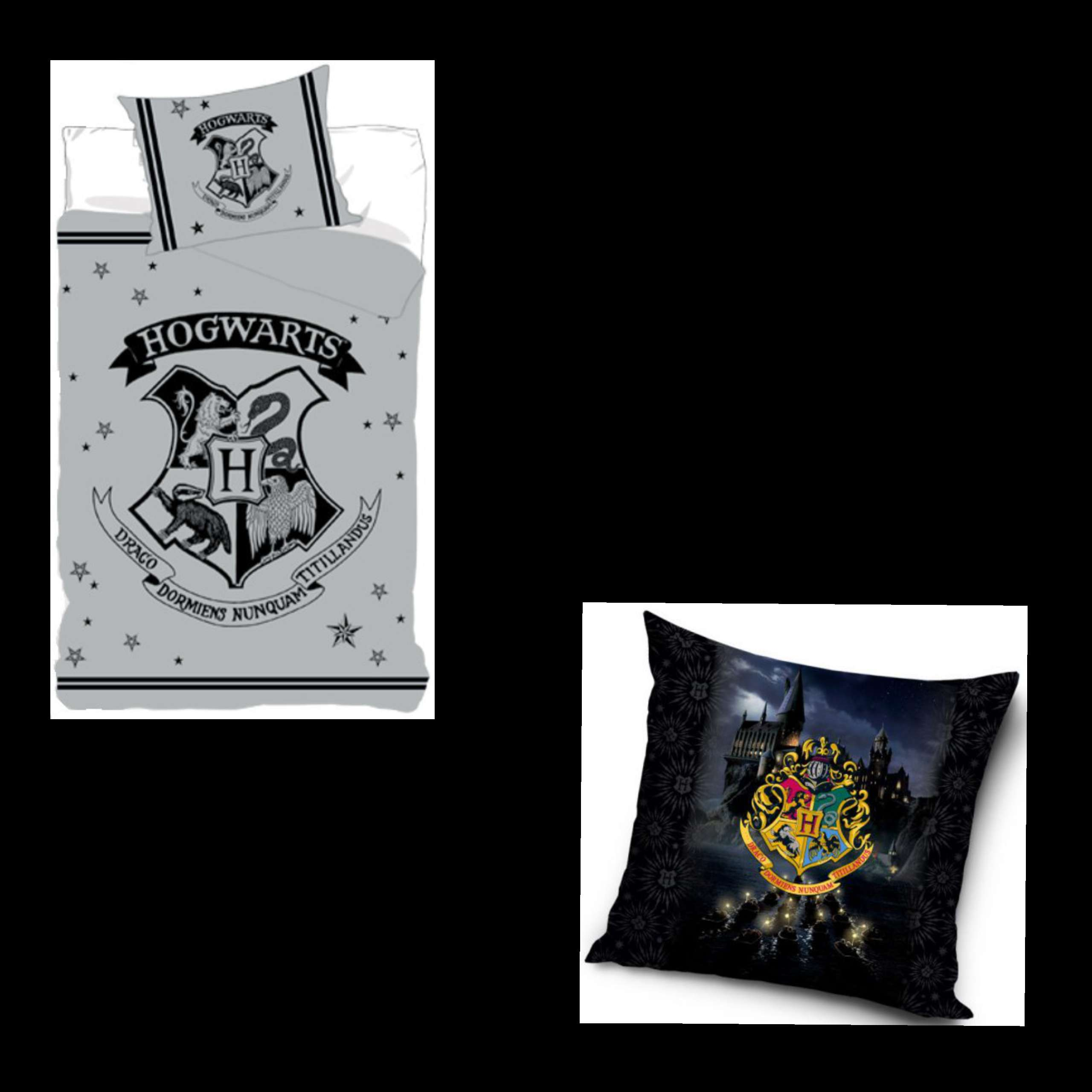 Harry Potter Hogwarts Silver Bed And Hogwarts Cushion Set