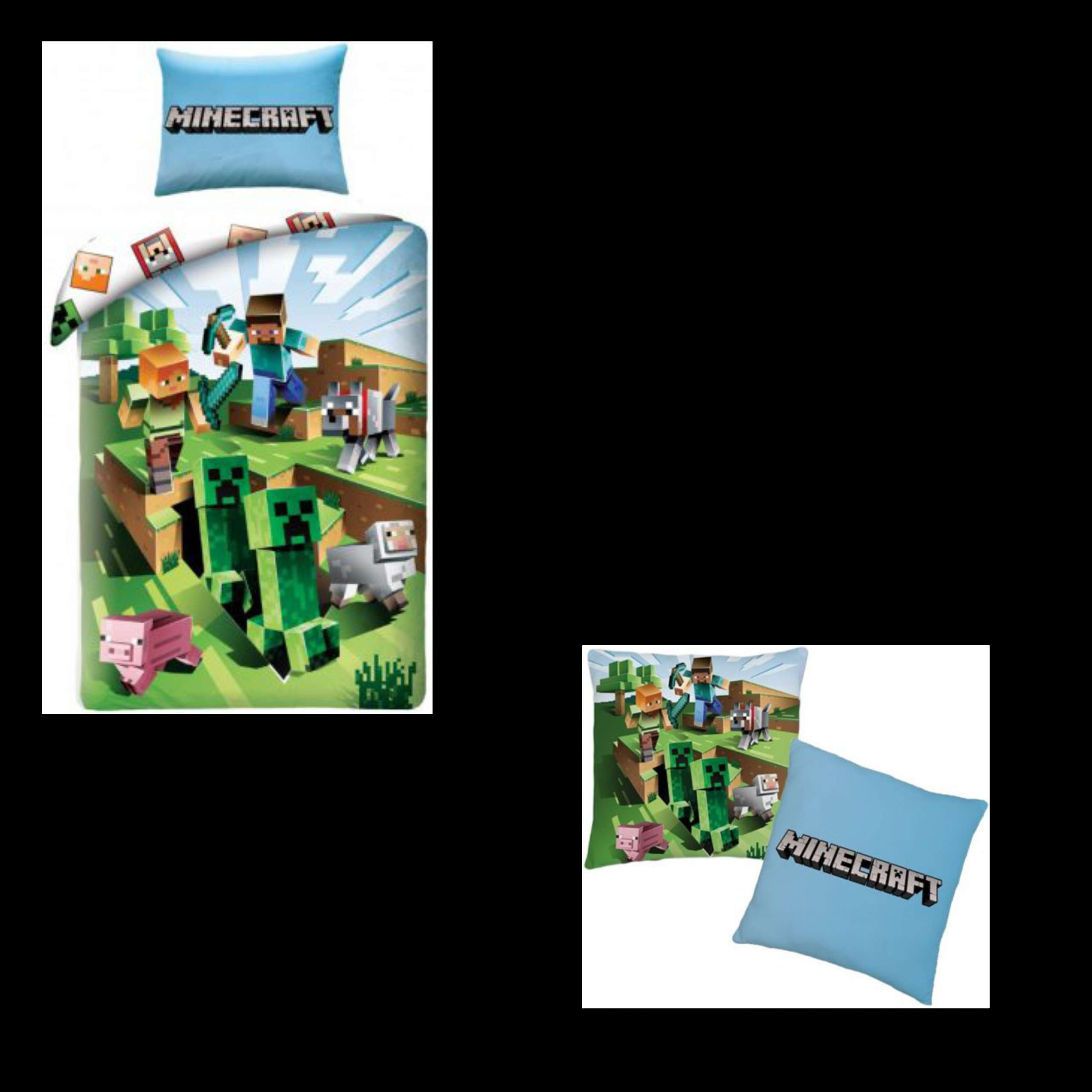 MineCraft Single Duvet Cover And Pillowcase And Matching Cushion Set